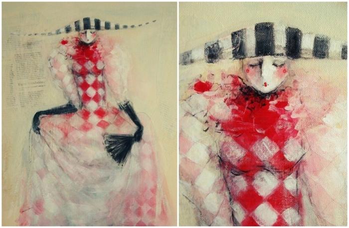 Pictura realizata de Corina Comarnitchi: Femeia-Arlequin .