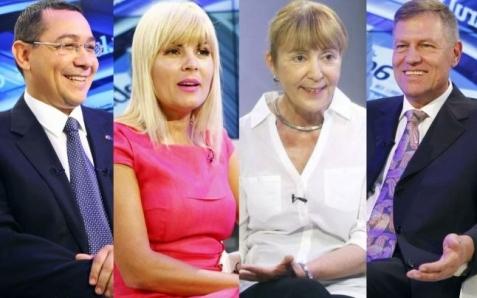 Victor Ponta, Elena Udrea, Monica Macovei şi Klaus Iohannis - candidaţi pentru titlul de preşedinte al României Sursa foto: adevarul.ro