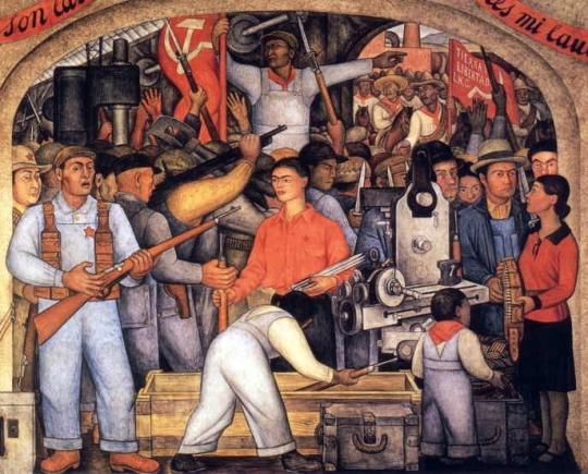 Arsenalul, 1928, pictura murala ce o infatiseaza pe Frida Kahlo purtand arme. Sursa foto: bellejar.ca